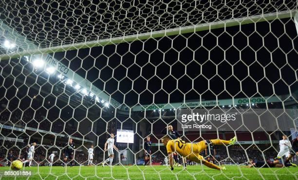Uros Matic of FC Copenhagen scores the 10 goal against Goalkeeper Aleksandar Jovanovic of AGF Aarhus during the Danish Alka Superliga match between...