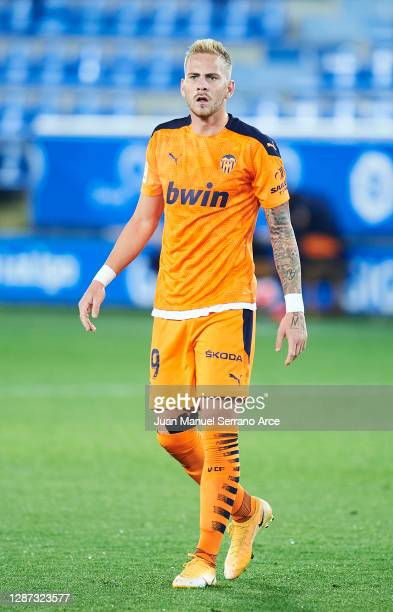 Uros Racic of Valencia CF reacts during the LaLiga Santander match between Alaves and Valencia on November 22 2020 in VitoriaGasteiz Spain