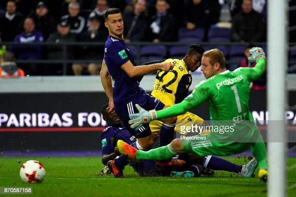 Uros Spajic defender of RSC Anderlecht Emmanuel Bonaventure Dennis forward of Club Brugge Matz Sels goalkeeper of RSC Anderlecht during the Jupiler...