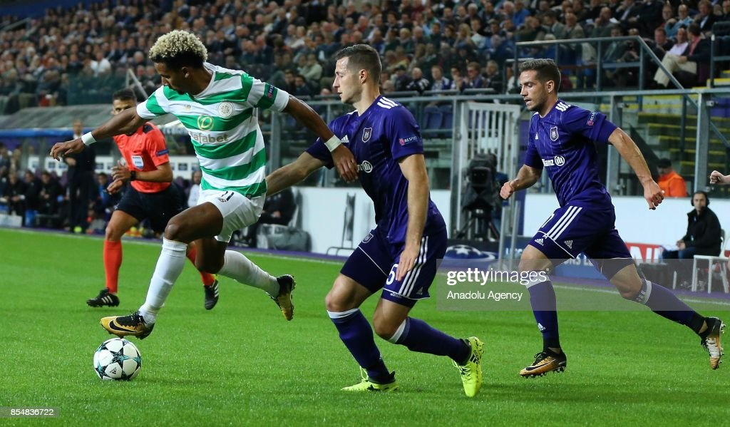 Uros Spajic (5) of Anderlecht in action against Scott Sinclair (11) of Celtic Glasgow during the UEFA Champions League Group B match between Anderlecht and Celtic Glasgow at the Constant Van den Stock stadium in Brussels, Belgium on September 27, 2017.