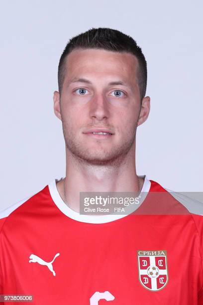 Uros Spajic of Serbia poses for a portrait during the official FIFA World Cup 2018 portrait session at the Team Hotel on June 12 2018 in Kaliningrad...