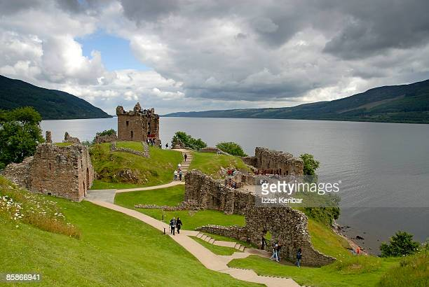 urqhart castle and loch ness. - loch ness stock pictures, royalty-free photos & images
