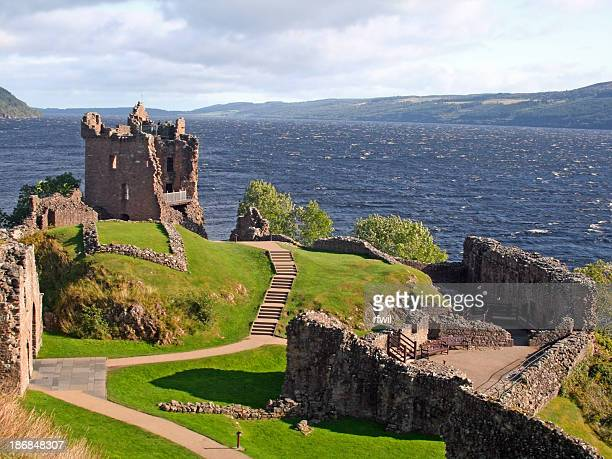 urquhart castle, scotland - loch ness stock photos and pictures