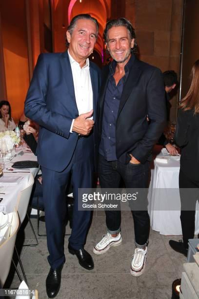 Urs Brunner and Hannes Ritter during the vegan fashion show store opening and dinner of Giulia Romeo at Maximilian Arkaden on September 12 2019 in...