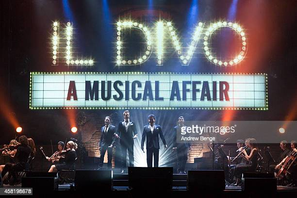 Urs Buhler David Miller Carlos Marin and Sebastien Izambard of Il Divo performs on stage at First Direct Arena on October 31 2014 in Leeds United...