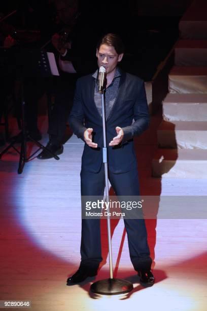 Urs Buhler of Il Divo performs at Anfiteatro Altos De Chavon on November 7, 2009 in La Romana, Dominican Republic.