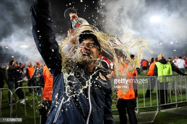 Urs Fischer head coach of Union Berlin celebrates after the Bundesliga playoff second leg match between 1 FC Union Berlin and VfB Stuttgart at...