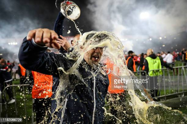 Urs Fischer head coach of Union Berlin celebrates after the Bundesliga playoff second leg match between 1. FC Union Berlin and VfB Stuttgart at...