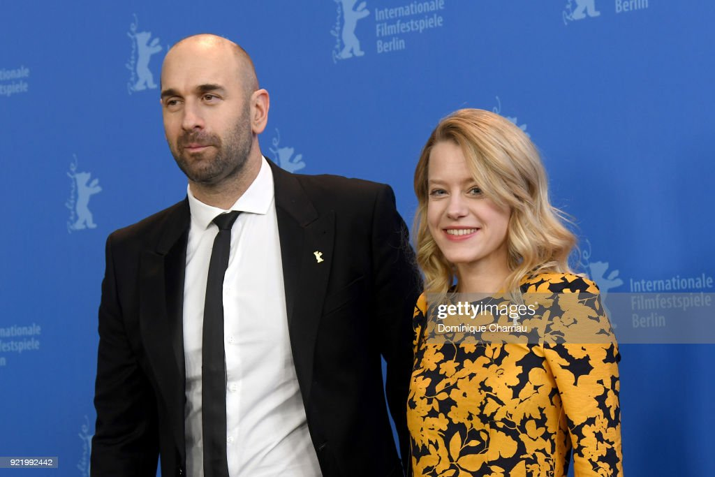 Urs Jucker and Julia Zange pose at the 'My Brother's Name is Robert and He is an Idiot' (Mein Bruder heisst Robert und ist ein Idiot) photo call during the 68th Berlinale International Film Festival Berlin at Grand Hyatt Hotel on February 21, 2018 in Berlin, Germany.