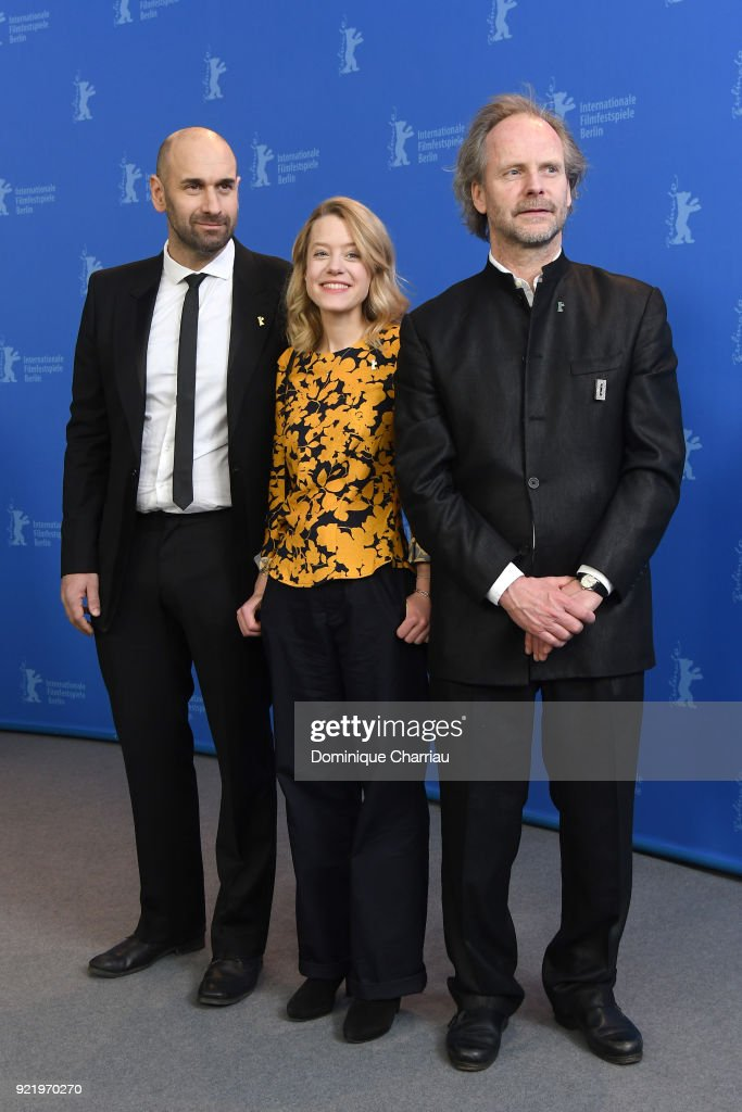Urs Jucker, Julia Zange and Philip Groening pose at the 'My Brother's Name is Robert and He is an Idiot' (Mein Bruder heisst Robert und ist ein Idiot) photo call during the 68th Berlinale International Film Festival Berlin at Grand Hyatt Hotel on February 21, 2018 in Berlin, Germany.