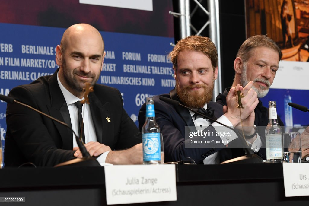 (L-R Urs Jucker, Stefan Konarske and Alexander Manasse attend the 'My Brother's Name is Robert and He is an Idiot' (Mein Bruder heisst Robert und ist ein Idiot) press conference during the 68th Berlinale International Film Festival Berlin at Grand Hyatt Hotel on February 21, 2018 in Berlin, Germany.