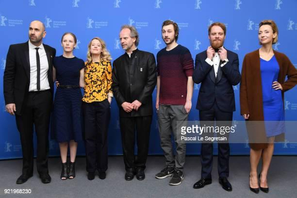 Urs Jucker Susanne Wuest Julia Zange Philip Groening Moritz Leu Stefan Konarske and Karolina Porcari pose at the 'My Brother's Name is Robert and He...