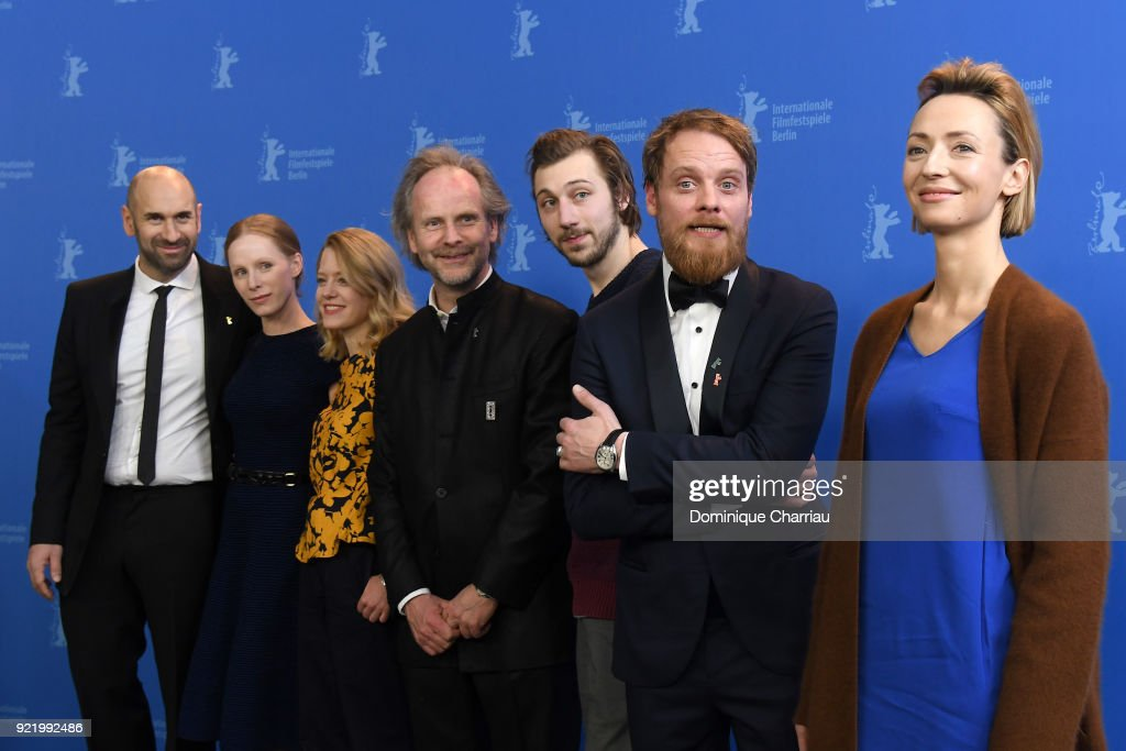 Urs Jucker, Susanne Wuest, Julia Zange, Philip Groening, Moritz Leu, Stefan Konarske and Karolina Porcari pose at the 'My Brother's Name is Robert and He is an Idiot' (Mein Bruder heisst Robert und ist ein Idiot) photo call during the 68th Berlinale International Film Festival Berlin at Grand Hyatt Hotel on February 21, 2018 in Berlin, Germany.