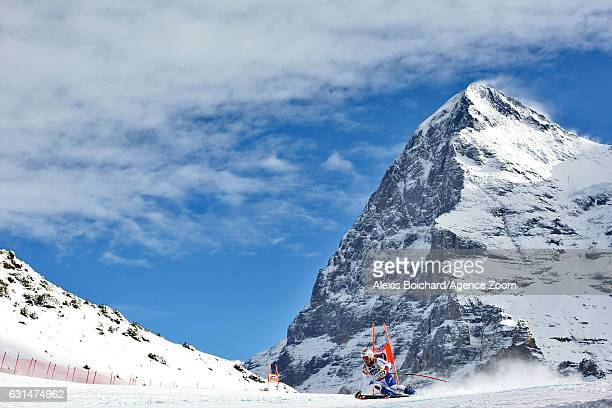 Urs Kryenbuehl of Switzerland competes during the Audi FIS Alpine Ski World Cup Men's Downhill Training on January 11 2017 in Wengen Switzerland