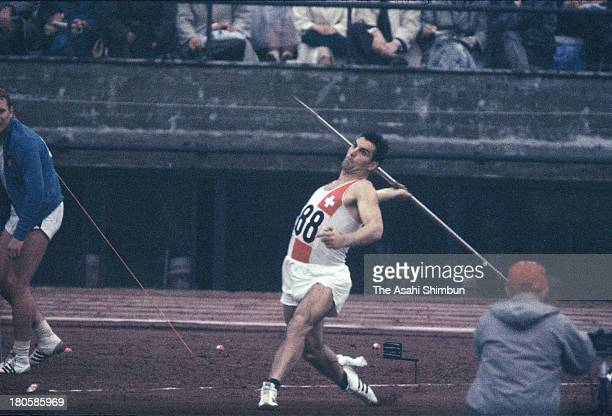 Urs von Wartburg of Switzerland competes in the Men's Javelin Throw Final during the Tokyo Olympics at the National Stadium on October 14 1964 in...