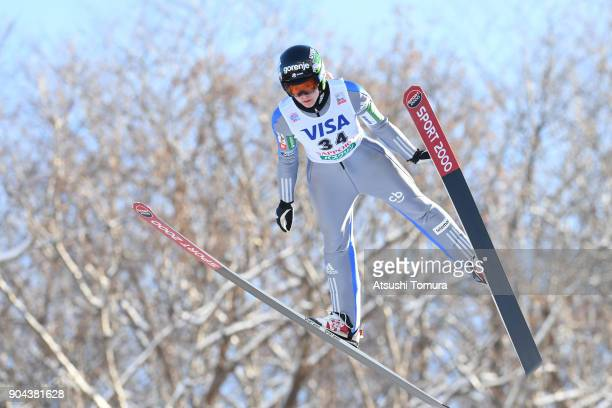 Ursa Bogataj of Slovenia competes in the Ladies normal hill individual during day one of the FIS Ski Jumping Women's World cup at Miyanomori Ski Jump...