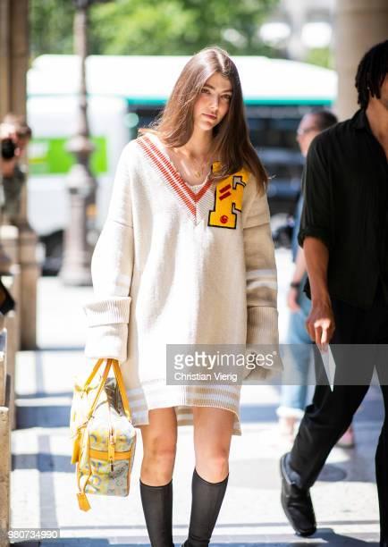 Ursina Gysi wearing v neck oversized jumper is seen outside Louis Vuitton on day three of Paris Fashion Week Menswear SS19 on June 21 2018 in Paris...
