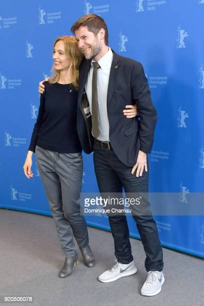 Ursina Lardi and Producer Lionel Baier pose at the 'Shock Waves' photo call during the 68th Berlinale International Film Festival Berlin at Grand...