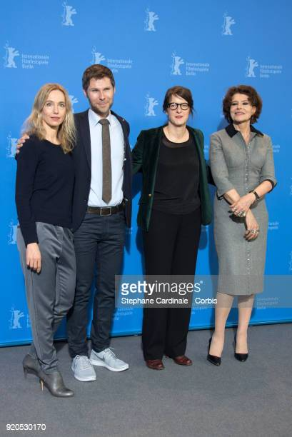 Ursina Lardi Lionel Baier Ursula Meier and Fanny Ardant pose at the 'Shock Waves' photo call during the 68th Berlinale International Film Festival...