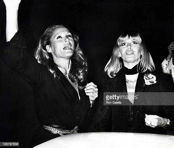 Ursula Andress and Britt Ekland during Peter Allen Opening May 5 1977 at The Roxy in Hollywood California United States