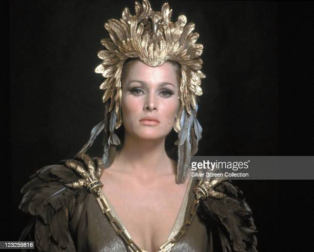 Ursula Andress Swiss actress wearing a gold headdress in a publicity portrait issued for the film 'She' 1965 The Hammer horror film directed by...