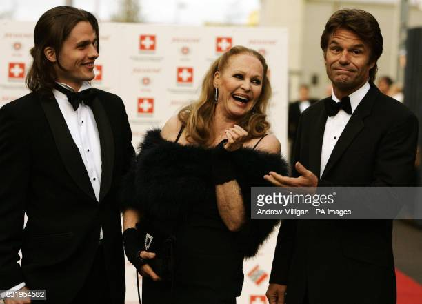 Ursula Andress with son Dimitri Hamlin and former partner Harry Hamlin after arriving in the original James Bond Aston Martin DB5 from Goldfinger at...