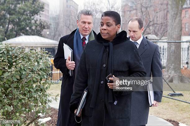 Ursula Burns chairman and chief executive officer of Xerox Corp center Michael Splinter chairman president and chief executive officer of Applied...