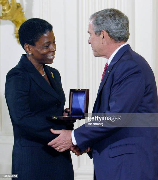 Ursula Burns president of Xerox Corporation accepts the National Medal of Technology on behalf of Xerox Corp dring a ceremony with US President...