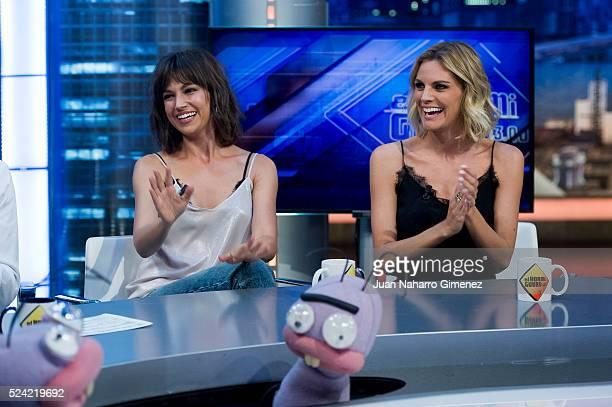 Ursula Corbero and Amaia Salamanca attend 'El Hormiguero' Tv show at Vertice Studio on April 25 2016 in Madrid Spain