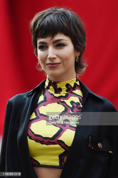 "Ursula Corbero attends the ""Piazza De Papel"" event of the Netflix tv show ""La Casa di Carta"" at Piazza Affari on July 17, 2019 in Milan, Italy."