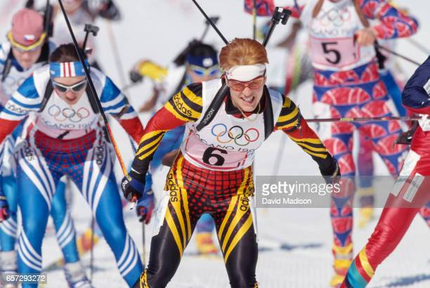 Ursula Disl of Germany skis in the first leg of the Women's 4 x 75 kilometer Relay event of the Biathlon competition of the 1998 Winter Olympic Games...