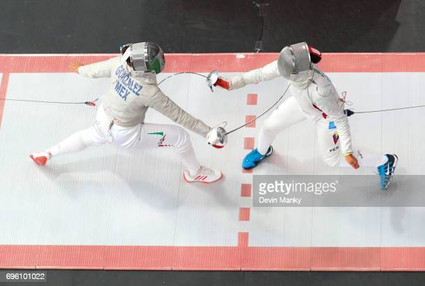 Ursula Gonzalez Garate of Mexico fences Milagros Pastran of Venezuela during the Women's Sabre event on June 14 2017 at the PanAmerican Fencing...