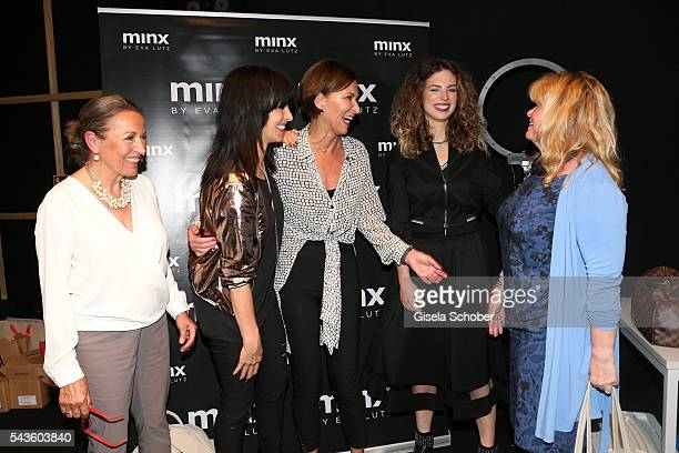 Ursula Griebner Nena designer Eva Lutz Larissa Kerner and Inger Nilsson at the Minx by Eva Lutz show during the MercedesBenz Fashion Week Berlin...