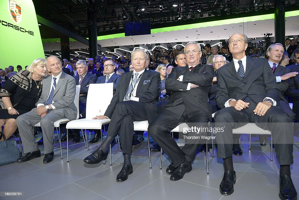Ursula Piech, Ferdiand Piech, Wolfgang Porsche and Martin Winterkorn looks on during the press day at the international motor show IAA (Internationale Automobil-Ausstellung) on September 11, 2013 in Frankfurt am Main, Germany. The world's biggest motor show, the IAA, is running from September 12 to 22, 2013