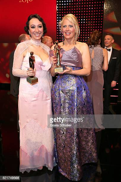 Ursula Strauss and Barbara Schoeneberger with award during the 27th ROMY Award 2015 at Hofburg Vienna on April 16 2016 in Vienna Austria