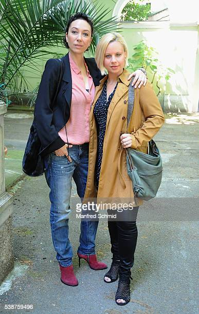 Ursula Strauss and Katharina Strasser pose during the 'Schnell ermittelt' on set photo call on June 8, 2016 in Vienna, Austria.