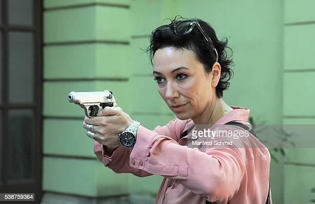 Ursula Strauss poses during the 'Schnell ermittelt' on set photo call on June 8 2016 in Vienna Austria