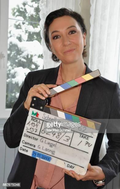 Ursula Strauss poses during the tv series 'Schnell ermittelt' On Set Photo Call at Schutzhaus am Schafberg on November 30 2017 in Vienna Austria