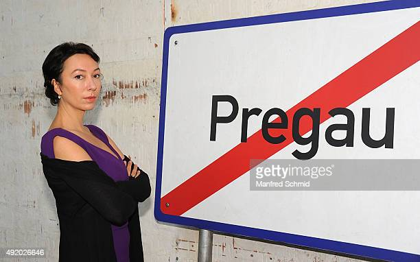 Ursula Strauss poses for the film 'Pregau' at Sargfabrik on October 9 2015 in Vienna Austria