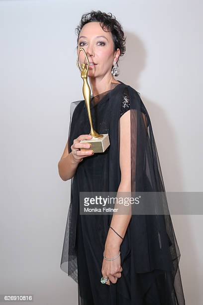 Ursula Strauss presents her award at the Look Women of the Year Awards at City Hall on November 30 2016 in Vienna Austria