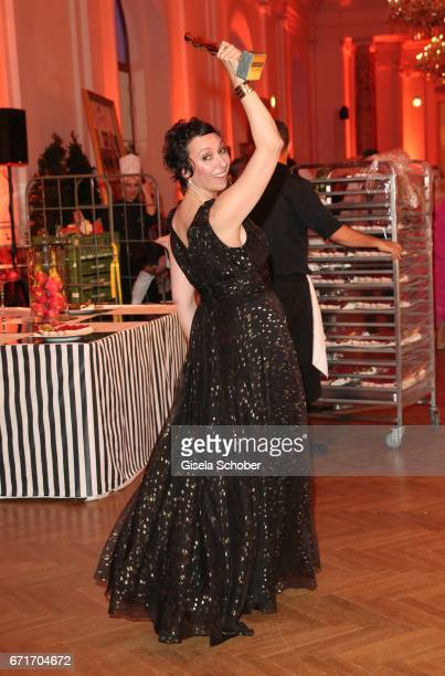 Ursula Strauss with award during the ROMY award at Hofburg Vienna on April 22 2017 in Vienna Austria