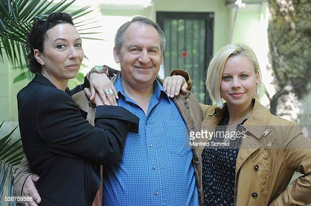 Ursula Strauss, Wolf Bachofner and Katharina Strasser pose during the 'Schnell ermittelt' on set photo call on June 8, 2016 in Vienna, Austria.