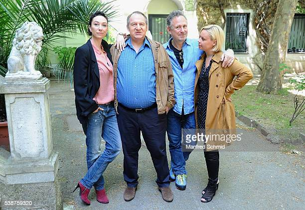 Ursula Strauss, Wolf Bachofner, Michi Riebl and Katharina Strasser pose during the 'Schnell ermittelt' on set photo call on June 8, 2016 in Vienna,...