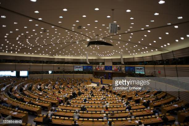 Ursula von der Leyen addressing the European Parliament on September 16, 2020 in Brussels, Belgium. In the wake of the Coronavirus pandemic and...