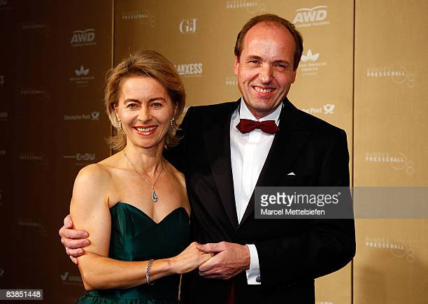 Ursula von der Leyen and her husband Heiko von der Leyen attend the annual German media ball 'Bundespresseball' on November 28 2008 in Berlin Germany