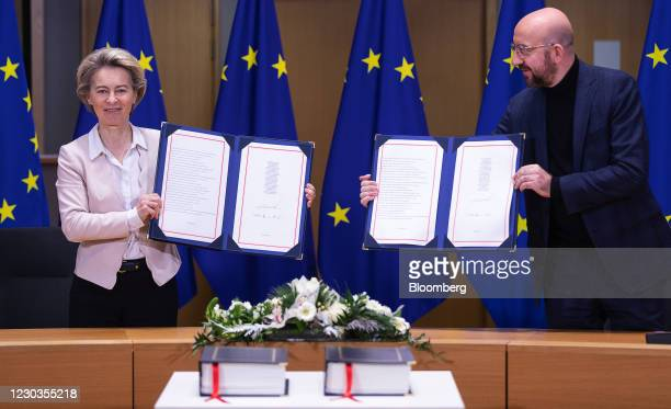 Ursula von der Leyen, European Commission president, and Charles Michel, president of the European Council, hold signed Brexit trade and cooperation...