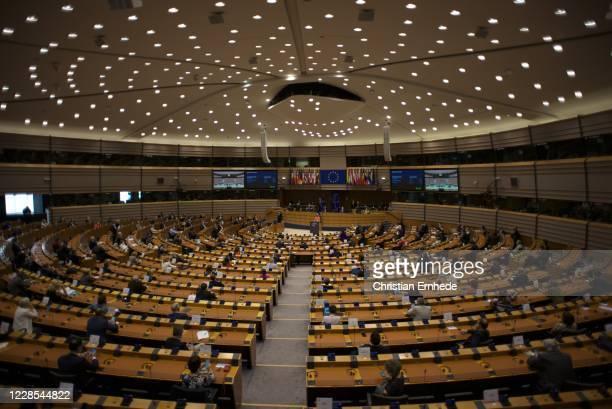 Ursula von der Leyen, president of the European Commission, addressing the European Parliament on September 16, 2020 in Brussels, Belgium. In the...