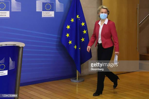 Ursula von der Leyen, president of the European Commission, arrives for a Covid-19 vaccination target news conference in Brussels, Belgium, on...