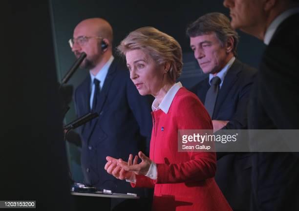 Ursula von der Leyen , President of the European Commission, David Sassoli , President of the European Parliament, and Charles Michel , President of...