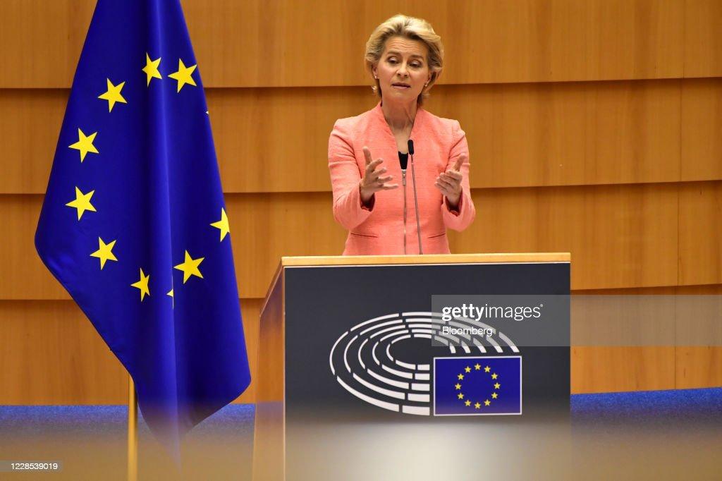 European Commission President Ursula von der Leyen Delivers State of the Union Address : ニュース写真
